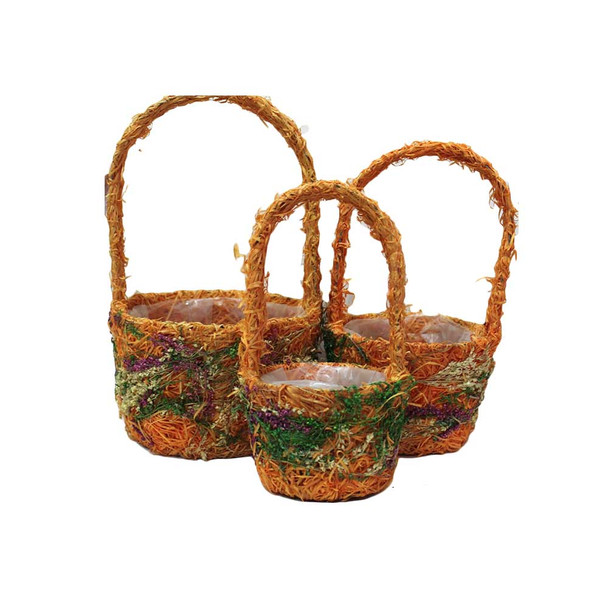 Round Moss Basket With Handle Set of 3 DY169R