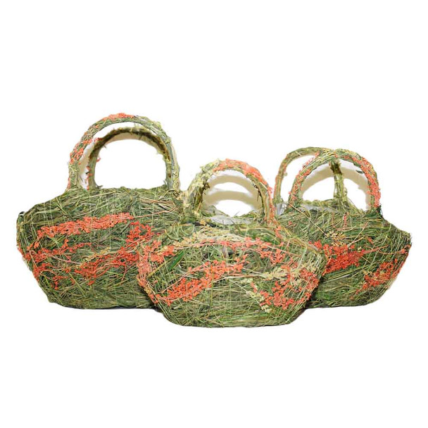 Oval Moss and Flowers Basket With Handle Set of 3   DRH15296