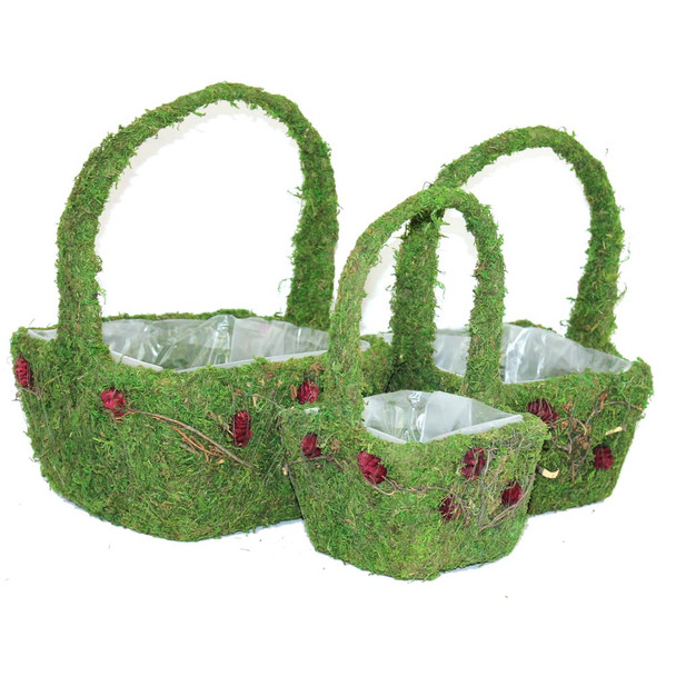 Square Moss and Flowers Basket with Handle Set of 3