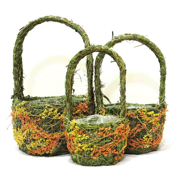 Round Moss and Flowers Basket With Handle Set of 3   DY160F