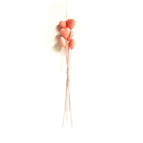 "19"" Pink Glittered Heart Picks"