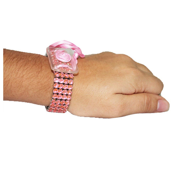 Pink Rock Candy Flower Bracelet