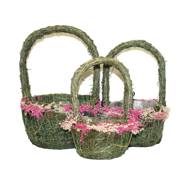 Round Moss and Flowers Basket With Handle Set of 3  DY16648S