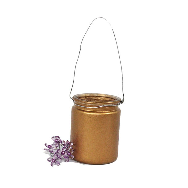 "4""  Gold Hanging Cup Candle Holder"