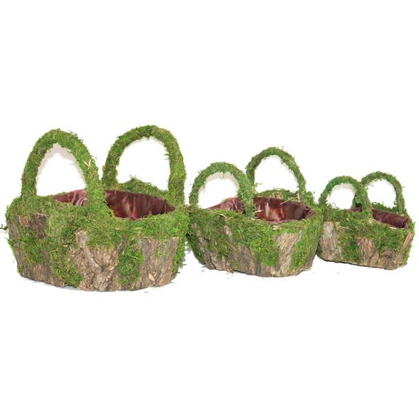 Oval Moss and Bark Basket With Handle Set of 3
