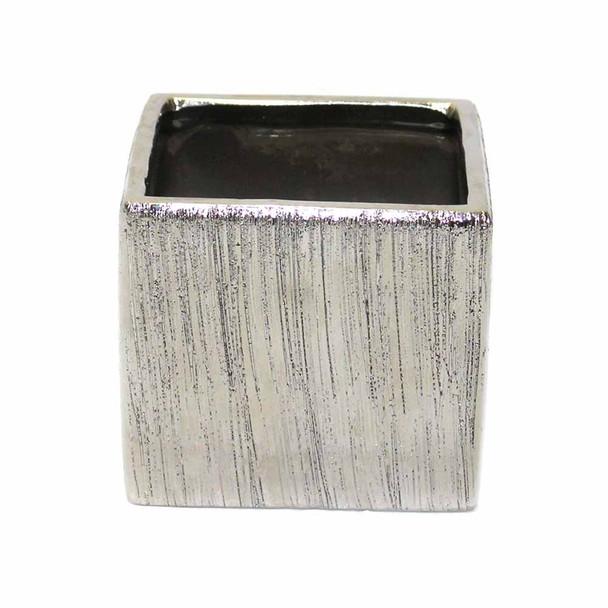 """4"""" Silver Ceramic Cube"""