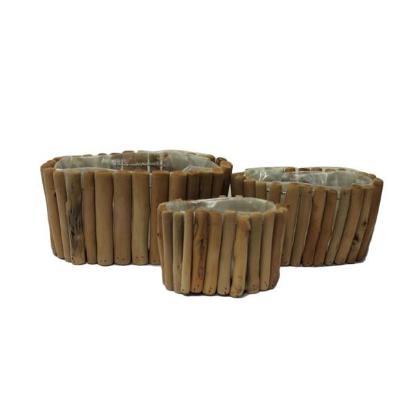 Oval Wood Basket Set of 3