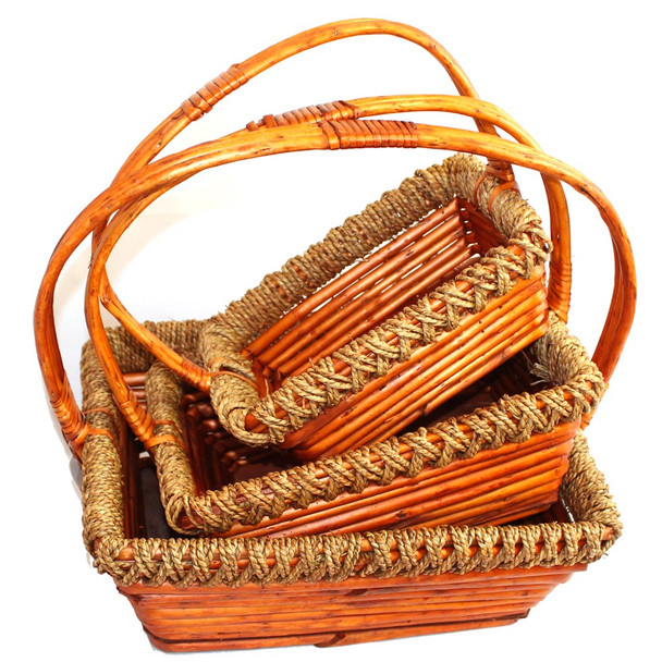 Stained Rectangular Willow Rope Basket with Handle Set of 3
