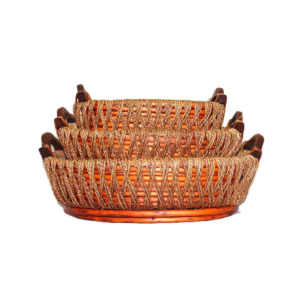 Stained Oval Willow Rope Tray Basket Set of 3