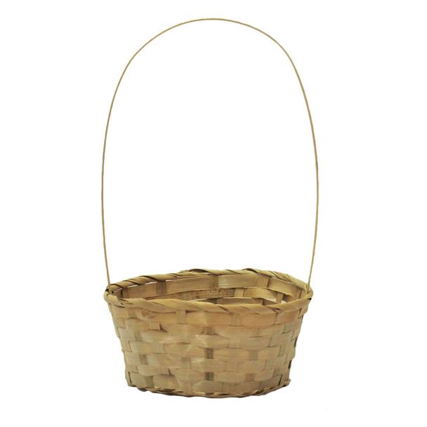 "10"" Round Bamboo Basket With Handle"