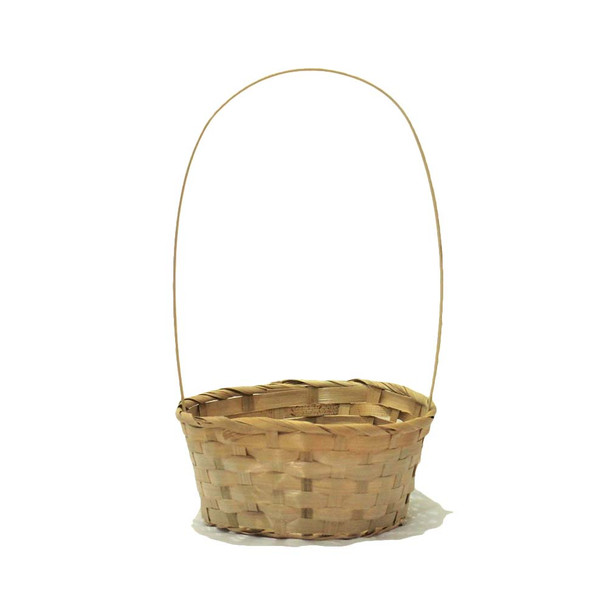 """8"""" Round Bamboo Basket  With Handle"""