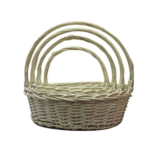 White Oval Willow Basket With Handle Set of 4