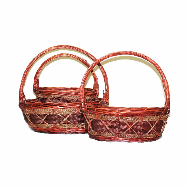 Oval Willow Basket With Rope With Handle Set of 3