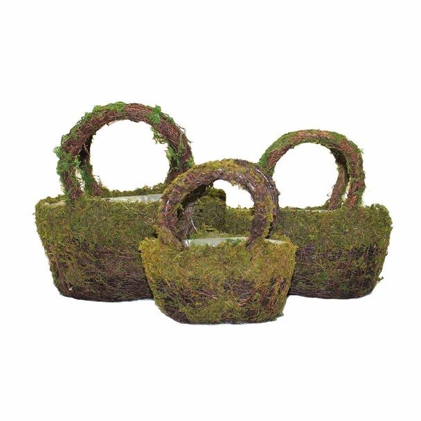 Oval Moss Rattan Basket With Handle Set of 3