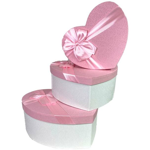 "12"" White & Pink Floral Heart Gift Box with Ribbon - Set of 3"