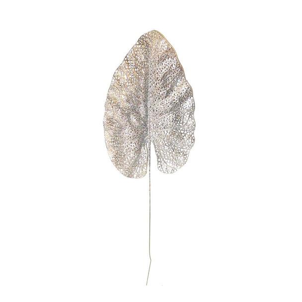 """26"""" Silver Glittered Leaf"""