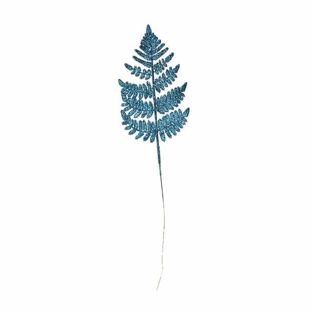"22"" Turquoise Glittered Leather Leaf"