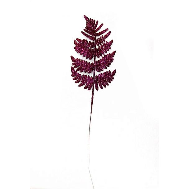 """22"""" Fuchsia Glittered Leather Leaf"""