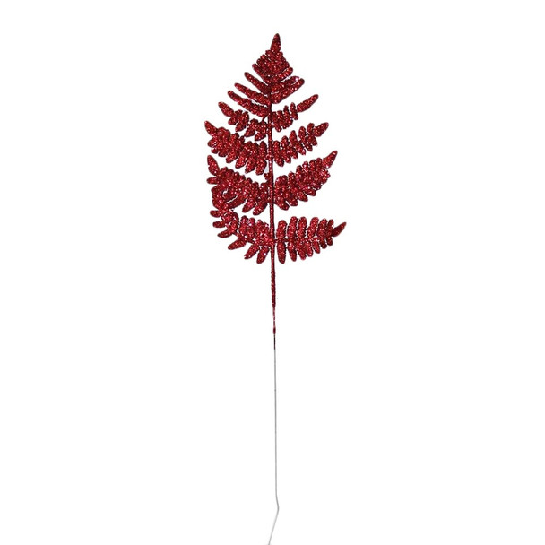 """22"""" Red Glittered Leather Leaf"""