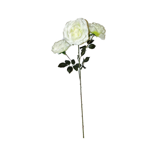 """48"""" Long Stem With 3 Roses. White"""