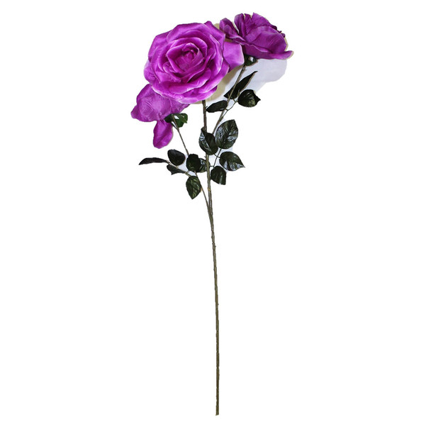 "48"" Long Stem With 3 Roses. Purple"