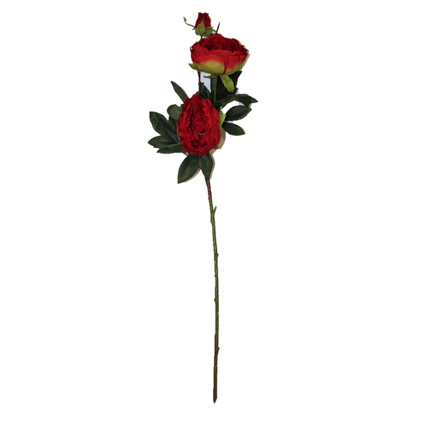 "34"" Red Long Stem Peony Flower"