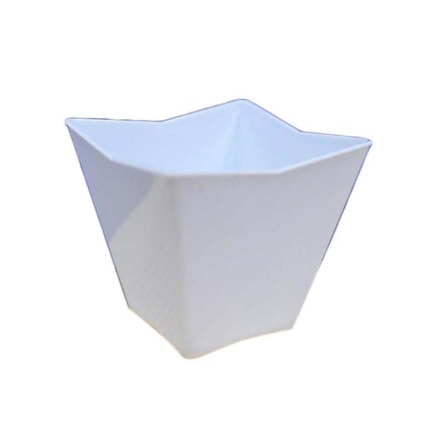 """2.25"""" White Trapezoid Plastic Dessert Bowl"""