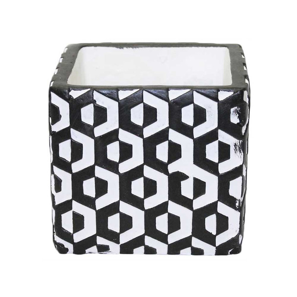 "4"" Black And White Ceramic Cube"