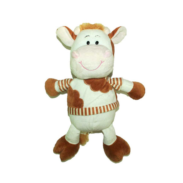 """14"""" Happy Little Cow. T-Shirt White And Brown"""