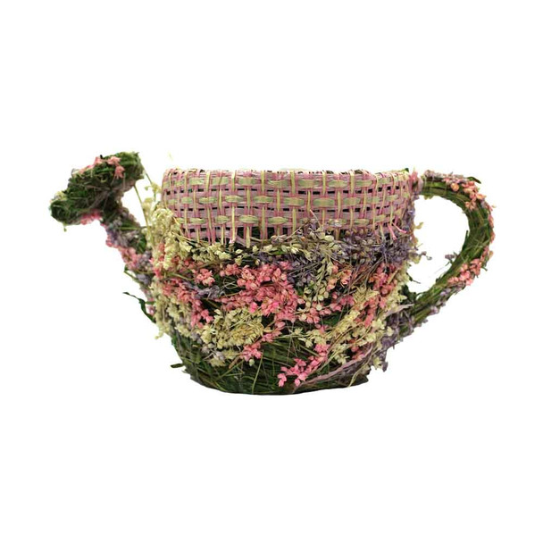 Assorted Flowers  And Burlap Detail Wicker Moss  Watering Can