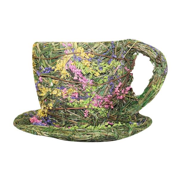 Assorted Flowers Wicker Moss Teacup