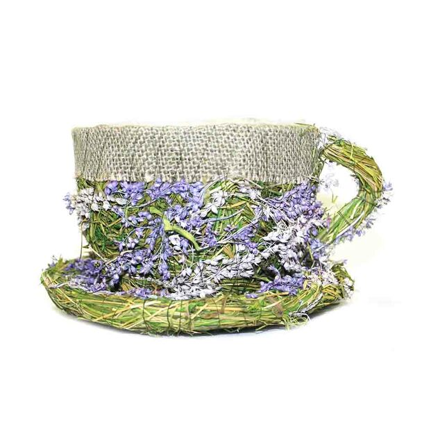 Purple Flower Detail with Burlap  Wicker Moss Teacup