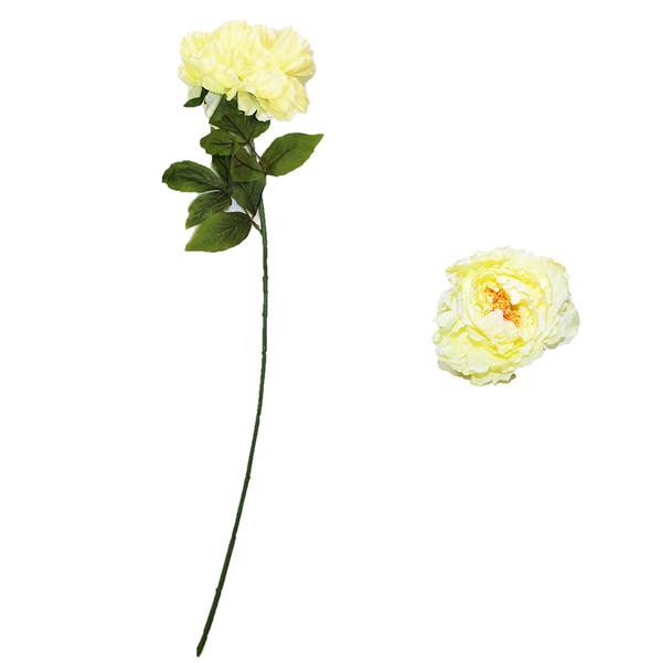 "30"" Ivory Long Stem Peony Flower"