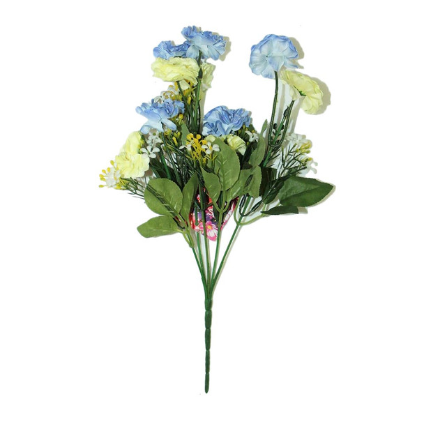 "12"" Yellow And Pastel Blue Short Bunch Flower"
