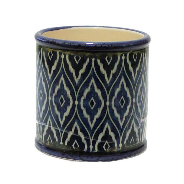 "4"" Blue Mosaic Ceramic Cylinder  V2"