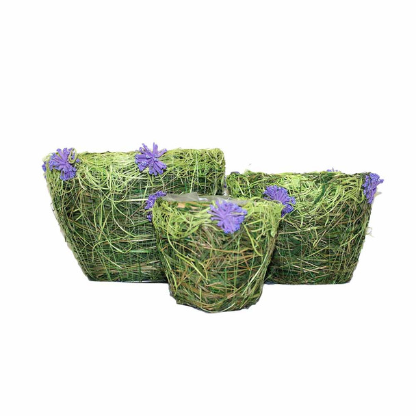 Round Lavender Flowers Moss  Basket Set of 3