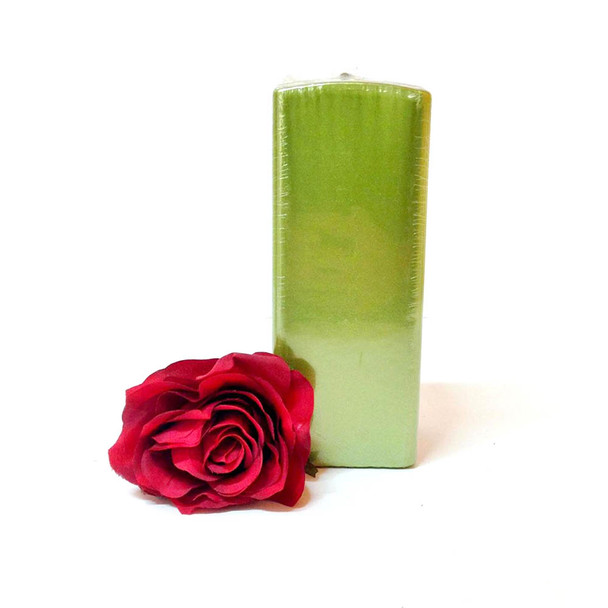 "2.75"" X 7"" Metallic Fresh Green Square Pillar Candle"