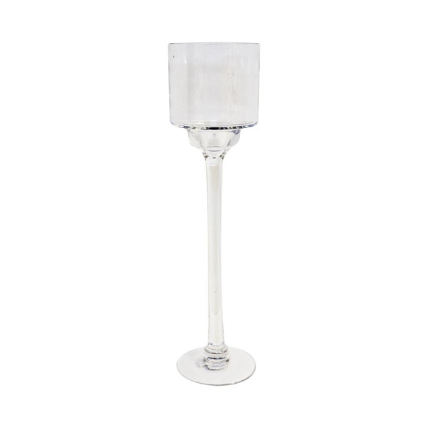 "16"" x 4"" Clear Contemporary Candle Holder"