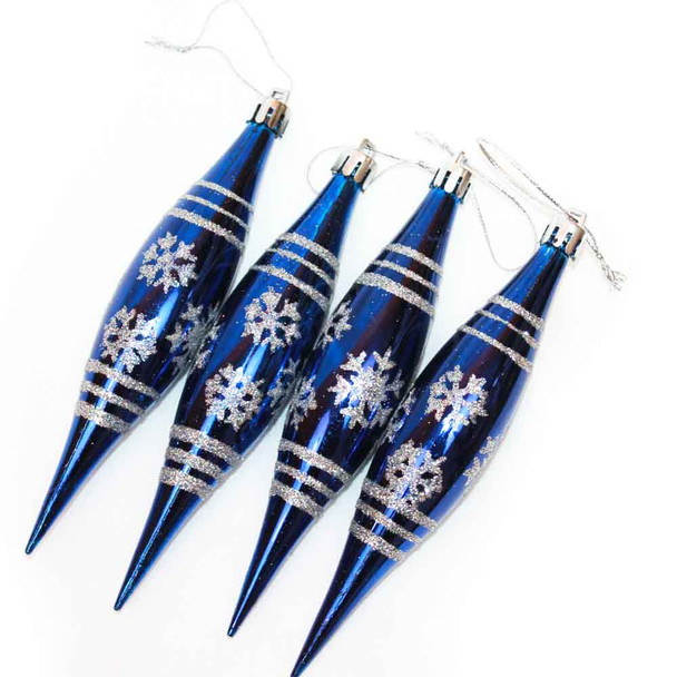 "6"" Shatterproof Blue Icicle Christmas Ornaments"