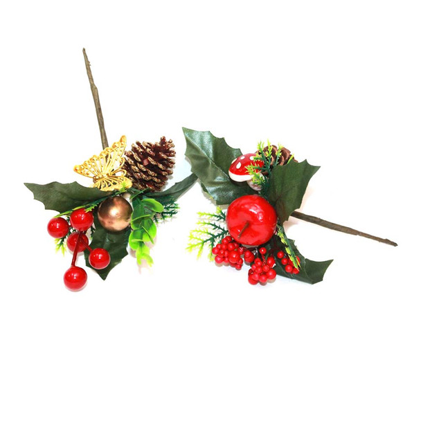 Red Apple Christmas Pick with Pine Cone