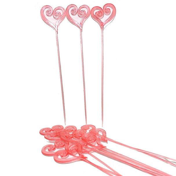 "12.5"" Pink Heart Arrangement Pick - 50 Pieces"