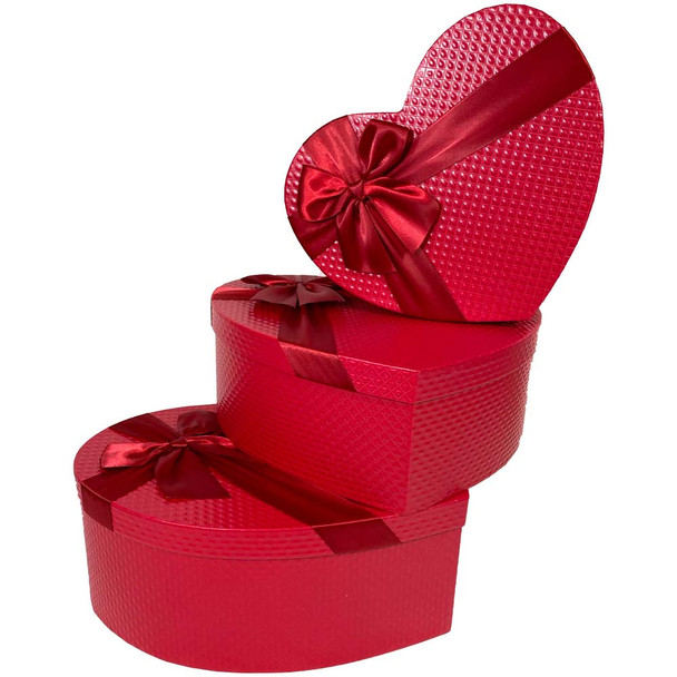 "12"" Deep Red Floral Heart Gift Box with Ribbon - Set of 3"