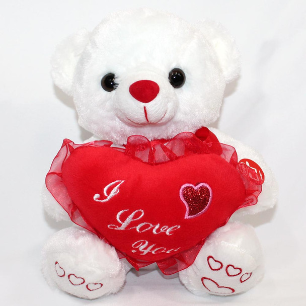 "8"" I Love You White Bear"