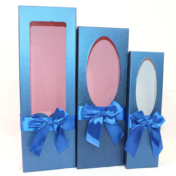 "17.5"" Blue Floral Gift Boxes with Window Set of 3"