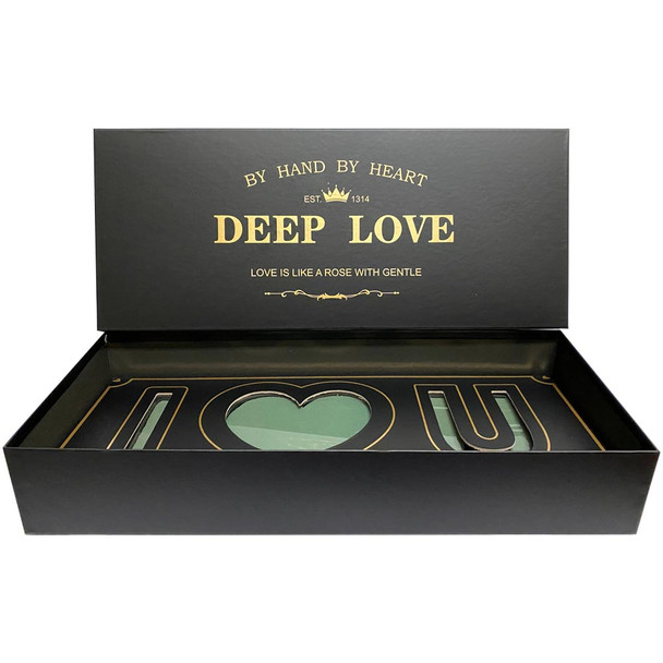 Black and Gold Deep Love Floral Gift Box with Fresh Foam