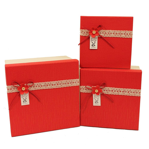 "9"" Red and Ivory Gift Boxes Set of 3"