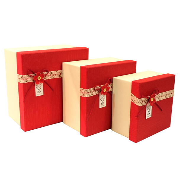 """9"""" Red and Ivory Gift Boxes Set of 3"""