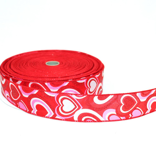 """1.5"""" Pink,  Red and White Satin Hearts Ribbon"""