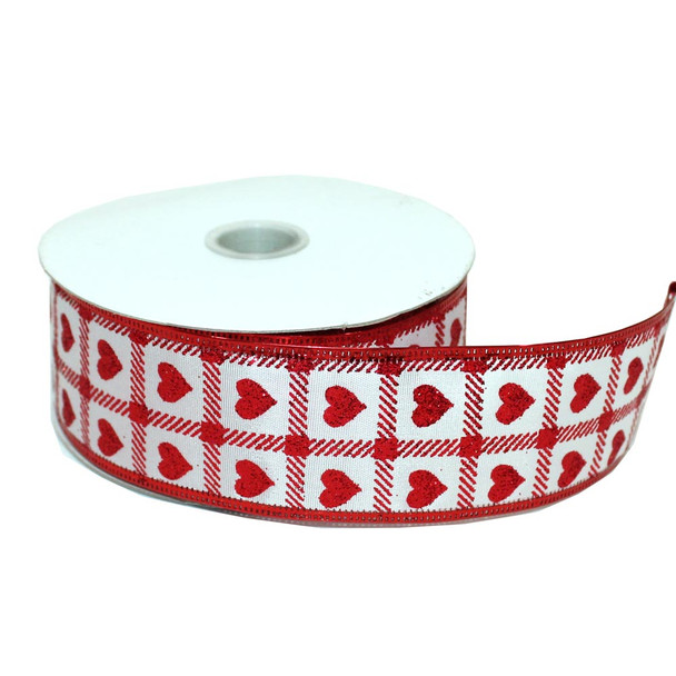 "1.5""  White and Red Satin Glitter Heart Ribbon"