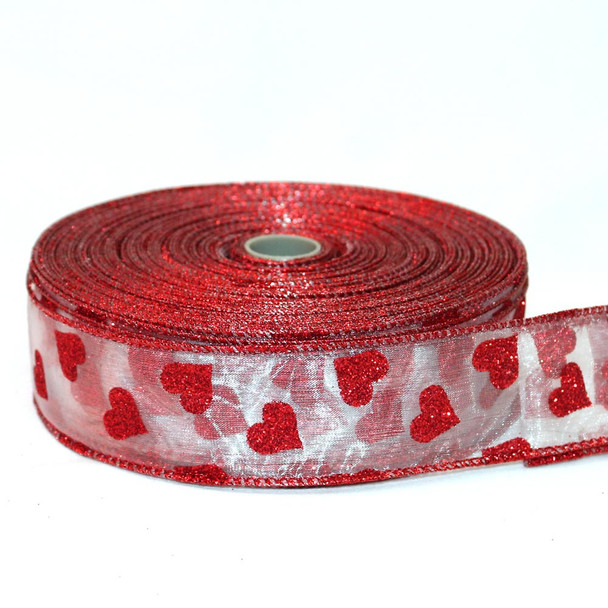 "1.5"" Sheer Red Glitter Hearts Ribbon"